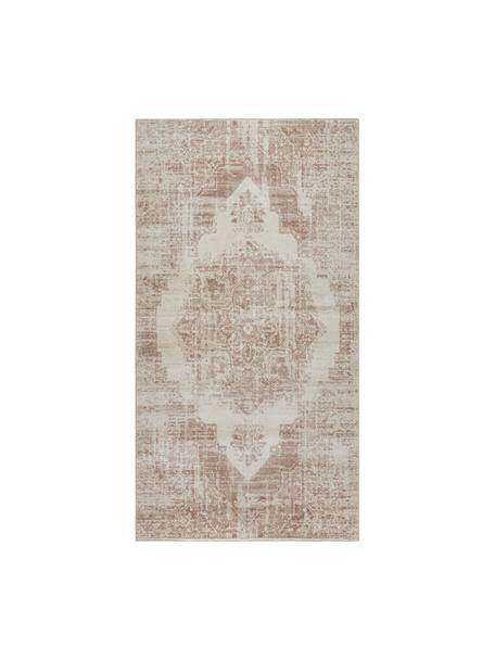 Alfombra Garonne, estilo vintage, Parte superior: 100%polipropileno, Reverso: yute, Marrón cobre, beige, An 80 x L 150 cm (Tamaño XS)
