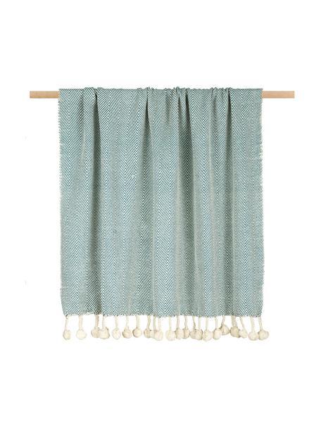 Manta con pompones Lilen, 100%algodón, Azul, beige, An 130 x L 150 cm