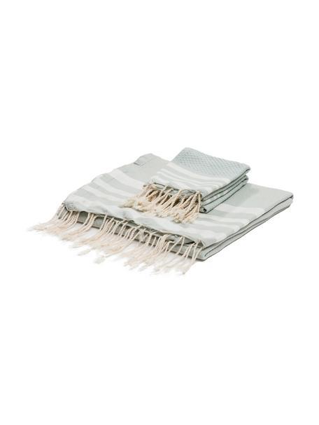 Set 3 asciugamani Hamptons, Verde menta, bianco, Set in varie misure