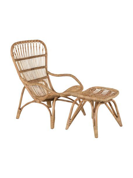 Komplet fotela ogrodowego ze stołkiem z rattanu Ella, Rattan, poliester, Beżowy, S 66 x G 131 cm