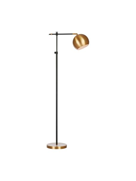 Industriële leeslamp Chester van metaal, Frame: gelakt messing, Lampvoet: messing, Bruin, zwart, 25 x 135 cm