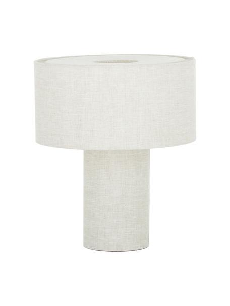 Kleine Nachttischlampe Ron aus Stoff, Lampenschirm: Textil, Lampenfuß: Textil, Beige, Ø 30 x H 35 cm