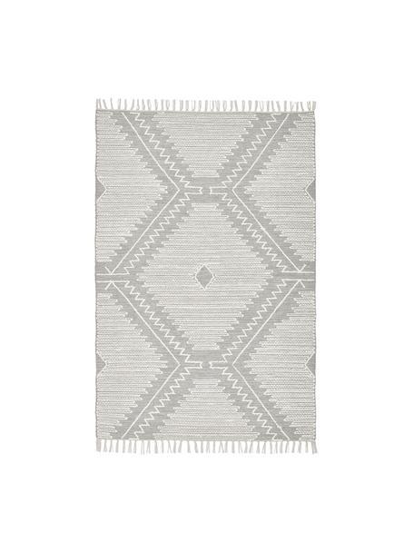 Handgewebter Teppich Karola mit Hoch-Tief-Struktur, Grau, Cremeweiß, B 120 x L 180 cm (Größe S)