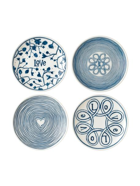 Gemusterte Brotteller Love in Weiss/Blau, 4er-Set, Porzellan, Elfenbein, Kobaltblau, Ø 16 cm
