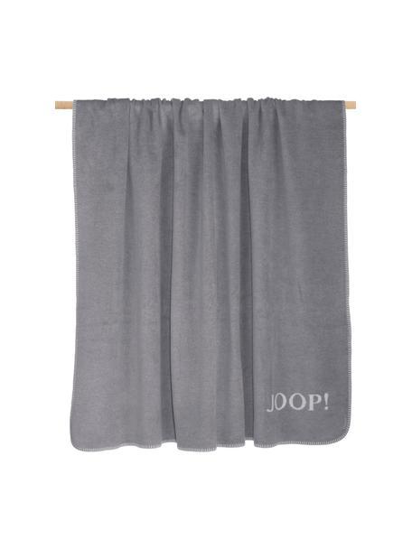 Manta doble cara Uni Doubleface, 58%algodón, 35%poliacrílico, 7%poliéster, Gris, blanco, An 150 x L 200 cm