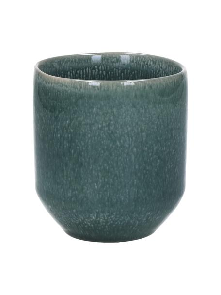 Becher Audrey in Graugrün, 2 Stück, Steingut, Graugrün, Ø 8 x H 9 cm