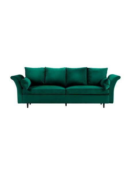 Sofa rozkładana z aksamitu z miejscem do przechowywania Lola (3-osobowa), Tapicerka: aksamit poliestrowy, Nogi: drewno sosnowe, lakierowa, Butelkowy zielony, S 245 x G 95 cm