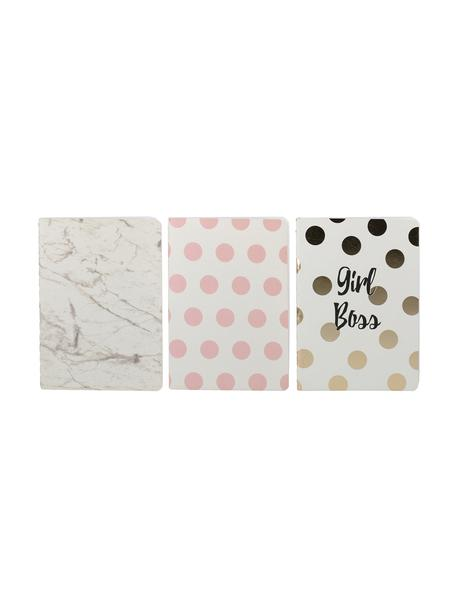 Notitieboekenset Marica, 3-delig, Papier, Wit, roze, goudkleurig, 11 x 15 cm