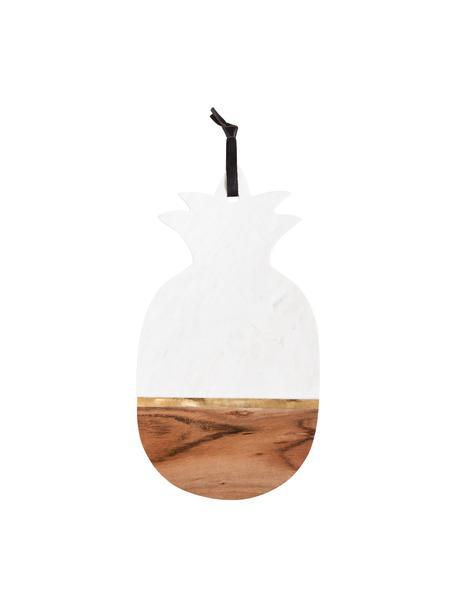 Tagliere in marmo Luxory Kitchen, Marmo, legno di acacia, ottone, Bianco, legno di acacia, ottone, Larg. 40 x Prof. 20 cm