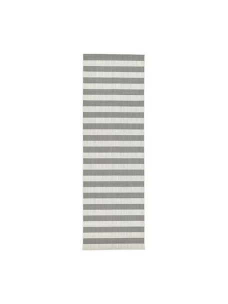 Gestreepte in- & outdoor loper Axa in grijs/wit, Bovenzijde: 100% polypropyleen, Onderzijde: polyester, Crèmewit, grijs, 80 x 250 cm