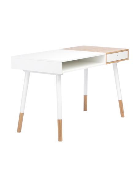 Bureau Sonnenblick in scandi design, Eikenhoutkleurig, wit, B 120 x D 60 cm