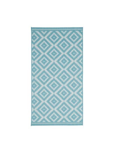 In- & outdoor vloerkleed met patroon Miami in turquoise/wit, 86% polypropyleen, 14% polyester, Wit, turquoise, B 80 x L 150 cm (maat XS)