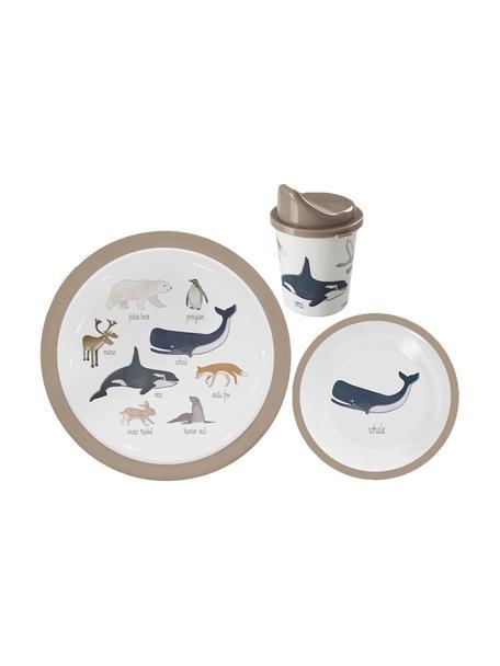 Serviesset Arctic Animals, 3-delig, Melamine, kunststof, Multicolour, Verschillende formaten