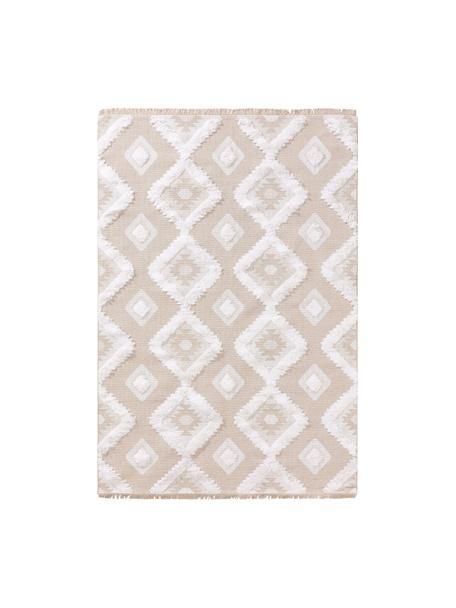 Alfombra lavable de algodón texturizada con flecos Oslo Squares, 100%algodón, Blanco crema, beige, An 190 x L 280 cm (Tamaño M)