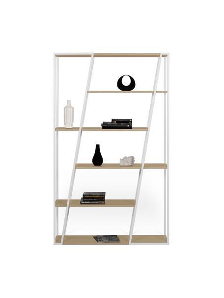 Standregal Albi aus Holz und Metall, Gestell: Metall, beschichtet, Regalboden: Mitteldichte Holzfaserpla, Weiss, Eichenholz, 120 x 197 cm