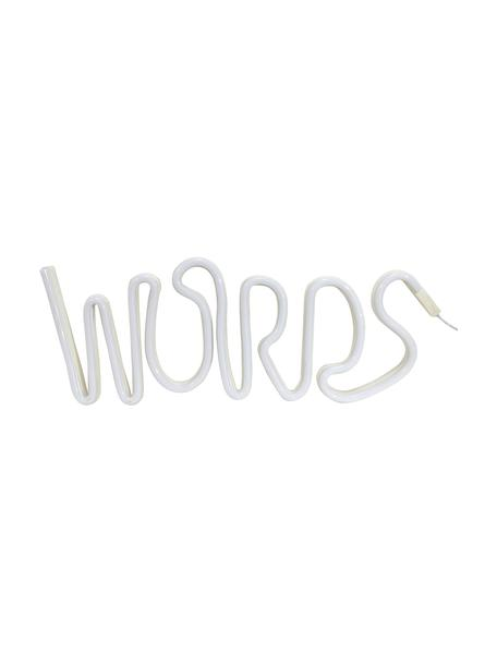 Oggetto luminoso a LED Words, Materiale sintetico, Bianco, Larg. 40 x Alt. 19 cm