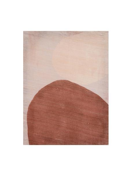 Handgemaltes Leinwandbild Two Dots, Khadi-Seide, Braun, Beigetöne, 50 x 65 cm
