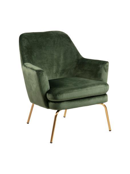 Fotel koktajlowy z aksamitu Chisa, Tapicerka: aksamit poliestrowy Dzięk, Nogi: metal lakierowany, Aksamitny zielony leśny, S 68 x G 73 cm