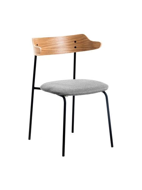 Gestoffeerde stoelen Olympia met rugleuning van hout, 2 stuks, Zitvlak: textiel, Frame: metaal, Grijs, eikenhoutkleurig, B 52 x D 49 cm