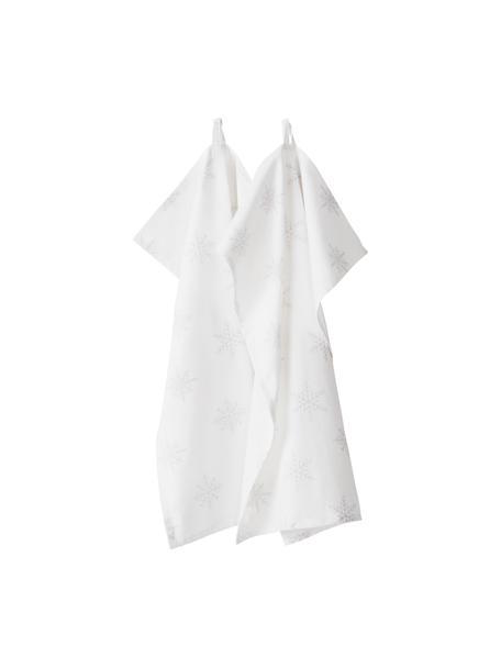 Ręcznik kuchenny Snow, 2 szt., 100% bawełna pochodząca ze zrównoważonych upraw, Kremowobiały, jasny szary, D 50 x S 70 cm