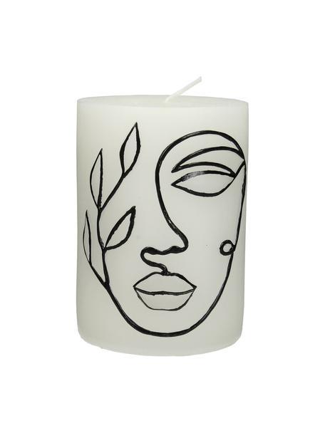 Vela pilar Face, Cera, Blanco, negro, Ø 8 x Al 10 cm