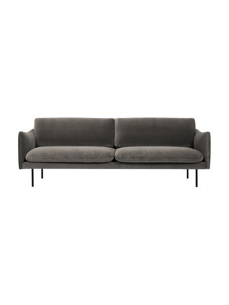 Samt-Sofa Moby (3-Sitzer) in Braungrau mit Metall-Füssen, Bezug: Samt (Hochwertiger Polyes, Gestell: Massives Kiefernholz, Samt Braungrau, B 220 x T 95 cm