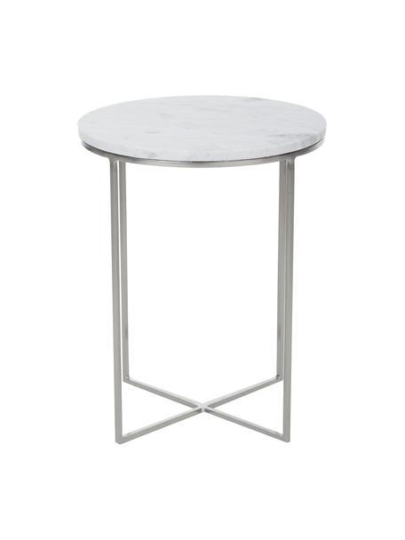 Runder Marmor-Beistelltisch Alys, Tischplatte: Marmor, Gestell: Metall, pulverbeschichtet, Tischplatte: Weiss-grauer Marmor, leicht glänzendGestell: Silberfarben, matt, Ø 40 x H 50 cm