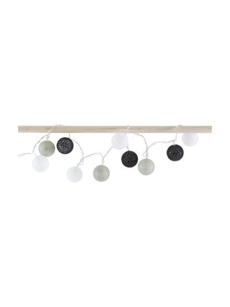 Lichterkette Ball, 150 cm, Kunststoff, Textil, Grau, Schwarz, Weiss, 150 cm