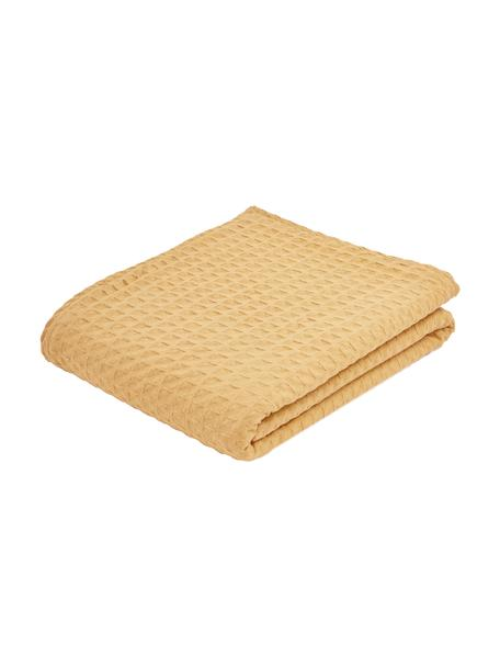Colcha con estructura gofre Panal, 100%algodón, Amarillo, Cama 135/140 cm (160 x 200 cm)