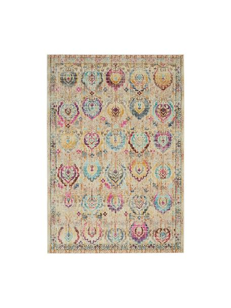 Tappeto in polipropilene a pelo corto Kashan Vintage, Retro: Latex, Beige, multicolore, Larg. 160 x Lung. 240 cm