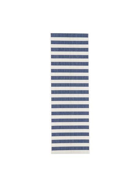 Gestreepte in- & outdoor loper Axa in blauw/wit, 86% polypropyleen, 14% polyester, Crèmewit, blauw, 80 x 250 cm