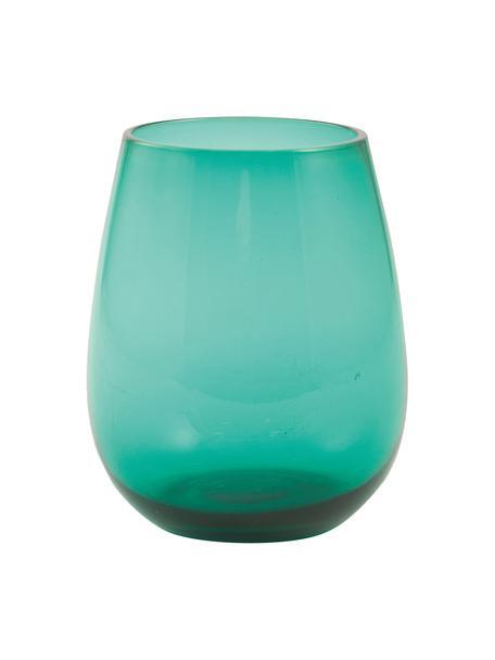 Bolvormige waterglazen Happy Hour in groen, 6 stuks, Glas, Groen, Ø 6 x H 11 cm