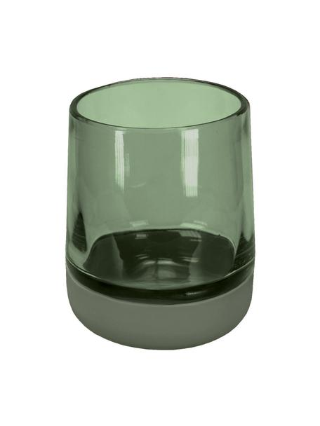 Porta spazzolini in vetro Belly, Verde, Ø 9 x Alt. 11 cm