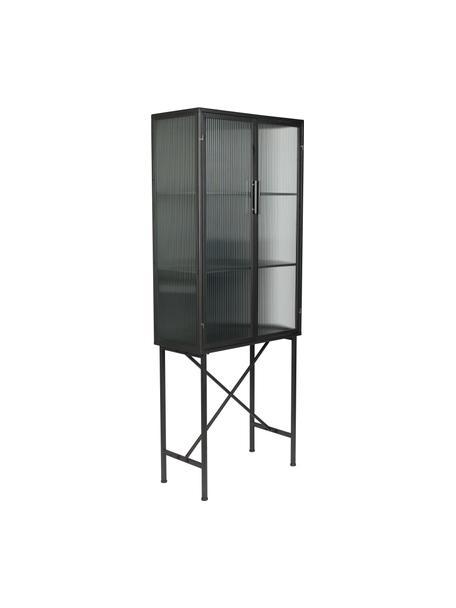 Vitrinekast Boli met gegroefd glas en metalen frame, Frame: gecoat metaal, Zwart, semi-transparant, 70 x 178 cm