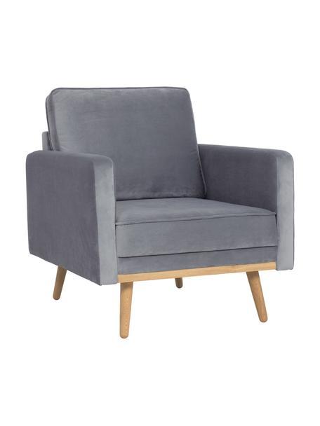 Fluwelen fauteuil Saint, Bekleding: fluweel (polyester), Frame: massief grenenhout, spaan, Fluweel grijs, B 85 x D 76 cm