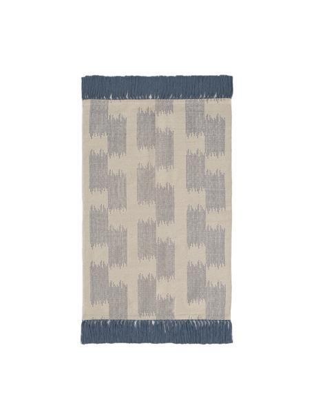 Teppich Fiji in Blau/Beige mit Fransen, 100% Baumwolle, Blau, Beige, B 60 x L 90 cm (Grösse XXS)