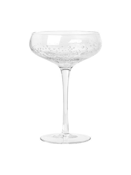 Mundgeblasene Champagnerschalen Bubble mit Lufteinschlüssen, 4er-Set, Glas, Transparent, Ø 11 x H 16 cm