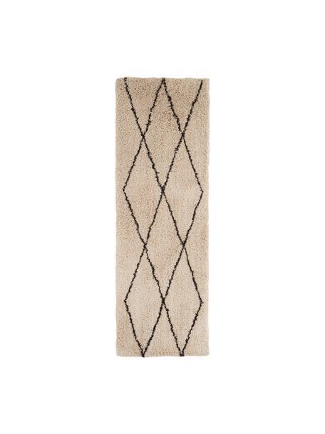 Flauschiger Hochflor-Läufer Nouria, Flor: 100% Polyester, Beige, Schwarz, 80 x 250 cm