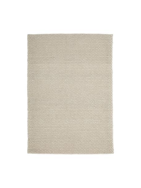 Handgenähter Wollteppich My Loft in Elfenbein meliert, Flor: 60% Wolle, 40% Viskose, Elfenbeinfarben, B 80 x L 150 cm (Größe XS)