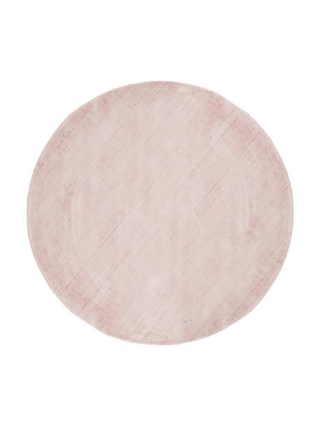 Alfombra redonda artesanal de viscosa Jane, Parte superior: 100%viscosa, Reverso: 100%algodón, Rosa, Ø 120 cm (Tamaño S)