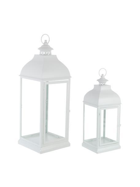 Set 2 lanterne Namir, Struttura: metallo rivestito, Trasparente, bianco, Set in varie misure