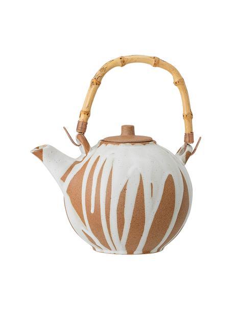 Ręcznie wykonany czajnik z kamionki Camellia, 800 ml, Biały, terakota, 800 ml