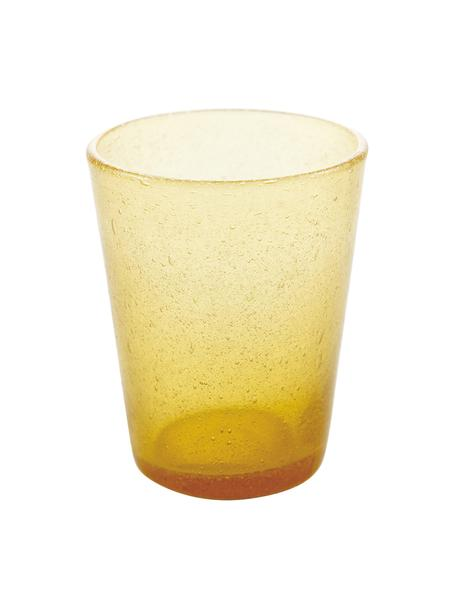 Szklanka do wody ze szkła dmuchanego Cancun, 6 szt., Szkło dmuchane, Żółty, Ø 9 x W 10 cm