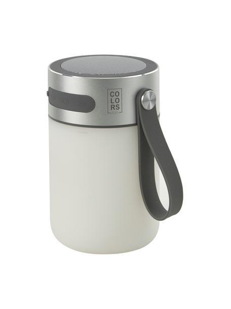 Mobiel dimbare tafellamp Sound Jar met luidspreker, Lampenkap: kunststof, Zilverkleurig, wit, Ø 9 x H 14 cm