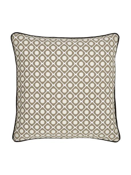 Poszewka na poduszkę z lamówką Rivets, 100% bawełna, Kremowy, taupe, S 45 x D 45 cm