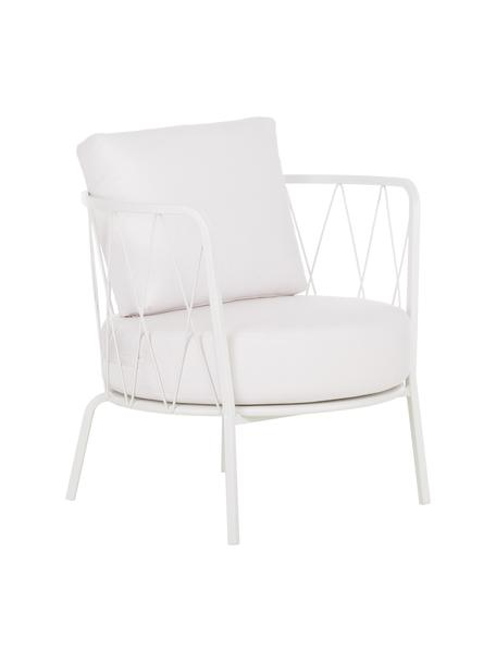 Outdoor loungefauteuil Sunderland met stoelkussens, Frame: verzinkt staal, gegalvani, Bekleding: polyacryl, Wit, B 74  x D 61 cm