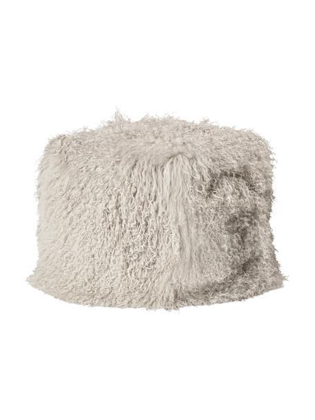 Worek do siedzenia ze skóry jagnięcej Cube, Tapicerka: tybetańską skóra jagnięca, Taupe, S 60 x W 40 cm