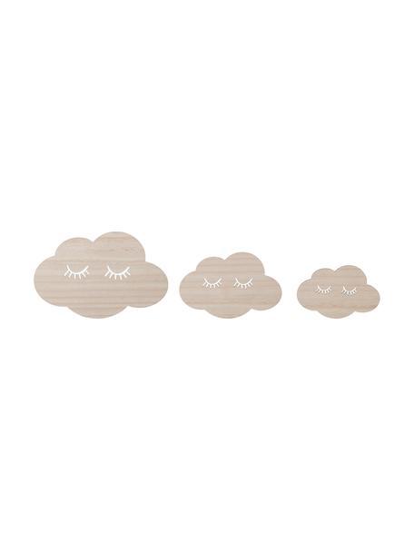 Komplet dekoracji ściennych Clouds, 3 elem., Sklejka, Beżowy, Komplet z różnymi rozmiarami