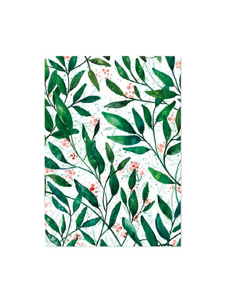 Papeles para regalos Green Leaves, 3 uds., Papel, Verde, rojo, blanco, An 50 x Al 70 cm