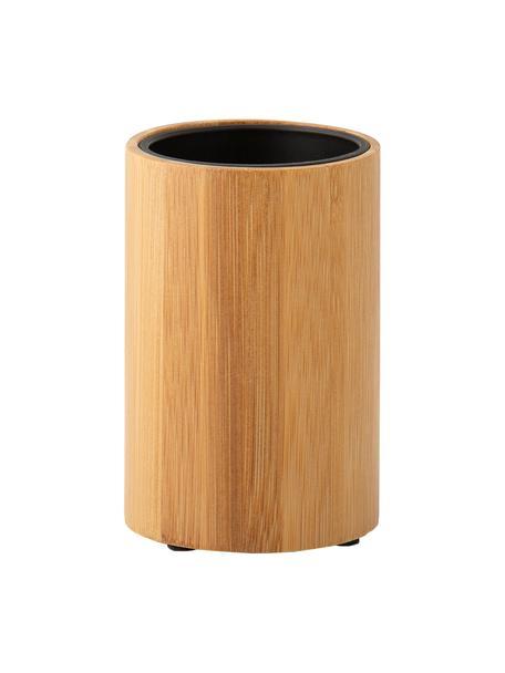 Zahnputzbecher Beckton, Außen: Bambus, Innen: Polypropylen, Bambus, Schwarz, Ø 7 x H 11 cm